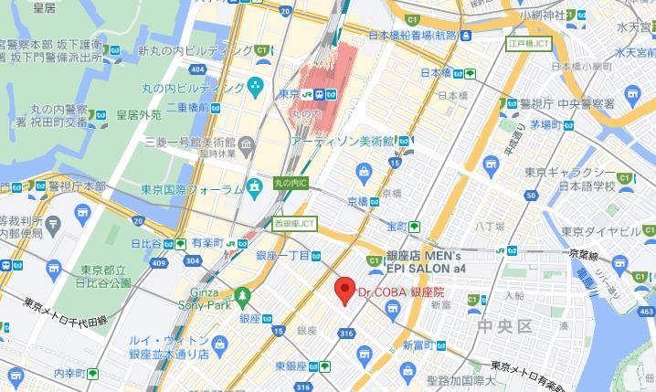 店舗名MAP:ドクターコバ銀座院(位置・情報)